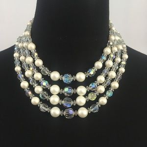 AB Faceted Crystal Bead & Faux Pearl Necklace